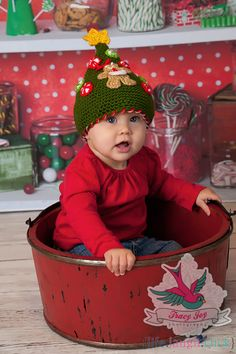 Baby Christmas Tree Hat by HandcraftLoribelle on Etsy, $24.00