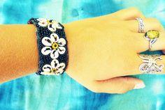 Bracelet Beaded Floral Flower Handmade Seashell Shell Spiral Cotton Hippie Boho…
