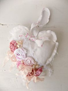 Shabby Chic Heart Christmas Ornament, French Country Cottage Door Hanger…