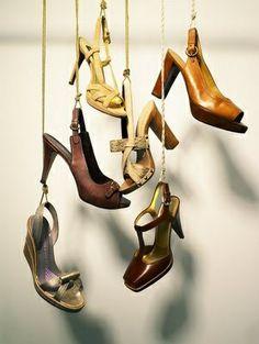 shoe display could be good for window display Shoe Display, Visual Display, Deco Depot, Visual Merchandising, Store Window Displays, Display Window, Hanging Shoes, Shops, Shoe Shop