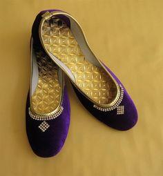 Purple Color Women Flat Shoes Rhinestone Studded by BeautyShop21