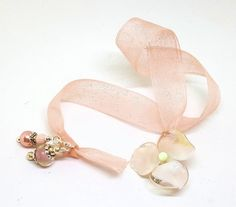 Peach Pink Artisan Lampwork Flower Bead Book Thong Bookmark | Books, Accessories, Bookmarks | eBay!