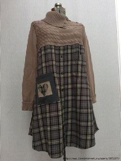Upcycled Flannel Dress Upcycled Sweater by SimplyCathrineAnn sweater, Upcycled Flannel Dress , Upcycled Sweater Dress , Rustic Woodland Gray Black Taupe Plaid Dress LARGE Remake Clothes, Redo Clothes, Sewing Clothes, Dress Sewing, Clothing Redo, Cowl Neck Sweater Dress, Old Sweater, Sweater Dresses, Jumper Dress