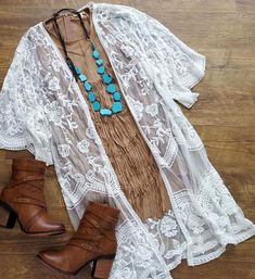 Jackets & Sweaters – Page 12 – Banana Leaf Boutique Lace Kimono Outfit, White Lace Kimono, Kimono Fashion, Fashion Outfits, Country Style Outfits, Southern Outfits, Country Fashion, Rodeo Outfits, Cute Outfits