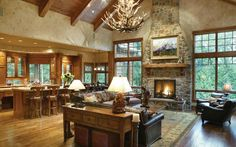 floor plans for ranch homes - Google Search - love this room and the deer horn chandler.