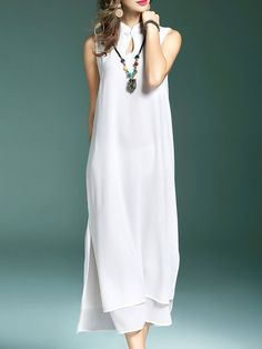 Shop Maxi Dresses - White Cutout Sleeveless A-line Maxi Dress online. Discover unique designers fashion at StyleWe.com.