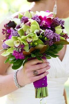 Blue Green Pink Purple White Bouquet Fall Spring Summer Winter Wedding Flowers Photos & Pictures - WeddingWire.com