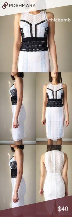 "Dreamy lace appliqué midi dress. Perfect cocktail dress. Lace appliqué midi dress. Lined. Delicate lace crochet detailing. Body hugging. Stretchable body con. Size S length 40"", bust 33"" w26"". Size M length 40"", bust34"",w28. Size L length 41, bust 36,w30"". Fabric 90% nylon and 10%spandex. Self portrait style . CHICBOMB Dresses Midi"