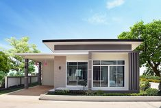 Two Bedroom Modern Style House with Interior Photos House Beautiful beautiful two bedroom house plans Modern House Colors, Modern Bungalow House Design, Modern Small House Design, Small House Exteriors, Simple House Design, Small Modern Home, House Front Design, Dream House Exterior, Modern Roof Design