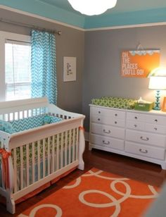 Teal & orange- love it! Baby room