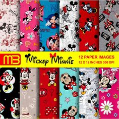 Mickey und Minnie Mouse Scrapbook Papier Pack  Cliart-Digital