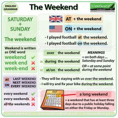 The weekend in English - Do we say AT the weekend or ON the weekend? What other prepositions do we use with Weekend? What is a long weekend?