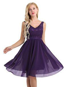 c5455aee3992 iiniim Women Floral Lace Bridesmaid Party Dress Short Prom Dress V Neck  Dark Purple 12