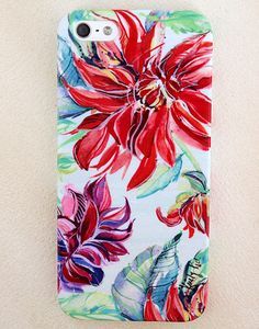 Bold Bright Dahlia iPhone 4/4s, 5/5s and 5c Case #Iphone #art #watercolor #iphoneart