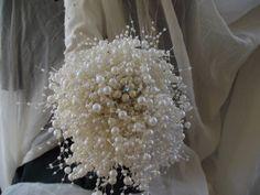 pearl wedding bouquet, florist made, ivory pearls, brooch alternative bouquet, jewelry bouquet, pearl bridal bouquet