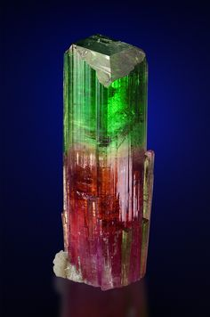 """Pink and Green Tourmaline!!! #pixiecrystals Some would call this 'Watermelon Tourmaline"""" but to really be WM: it has to be one INSIDE the other, not one colour above the other.  A true nerd would say """"this is a bi-colour Tourm""""!  Either way - if it could make its way to my personal collection: I'd be delighted!! -x-"""
