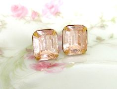 Vintage Pale Pink Glass Rhinestone Post Earrings