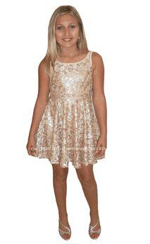 e732e8abd8060 Elisa B Beautiful Gold Sequined Lace Tween Dress Skater Skirt *Top Seller*