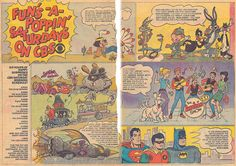 1968 CBS advertisement for Saturday Morning Cartoons on CBS, in Comic Books, featuring: Go-Go Gophers, Road Runner, Sylvester and Tweety, Elmer Fudd, Daffy Duck, Bugs Bunny, Wacky Races, Archie, and Justice League