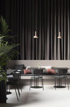 The new Asian fusion restaurant IBU in Copenhagen has a calm and elegant visual concept created by Danish brand ferm LIVING Modern Restaurant, Restaurant Interior Design, Cafe Interior, Modern Interior Design, Interior Design Inspiration, Interior Architecture, Luxury Restaurant, Restaurant Interiors, Design Hotel