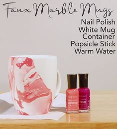 Mug Crafts, Diy Home Crafts, Diy Mug Designs, Diy Design, Art Designs, Bottle Art, Bottle Crafts, Diy Hydro Dipping, Marble Mugs