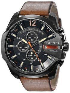 d35b485001 Diesel Mega Chief Black Dial Brown Leather DZ4343 Men s Watch Relojes  Hombre