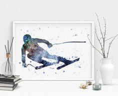 Downhill skier art Ski watercolor print Freeride Skier