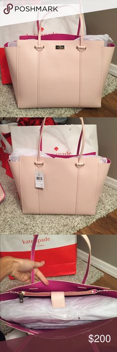 💜Kate Spade XL Annelle Tote💜 ⭐️NWT Kate Spade Annelle XL Tote.. Color is Light Pink with Sweetheart Pink Inside..  🔹Genuine smooth leather with matching trim.🔹14-karat light gold plated hardware.🔹Magnetic snap strap closure🔹Dual flat leather handles with 9.5″ drop.🔹Unlined interior in sweetheart pink color.🔹Interior features large zip pocket and two slide pockets🔹Protective metal feet🔹Approximate dimensions: 12″ H x 18″ L x 5.5″ D🚫NO TRADES🚫💥Less onⓂ️💥 kate spade Bags Totes