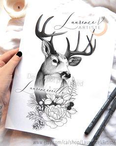 Design Tattoo, Tattoo Designs, Thigh Sleeve Tattoo, Printable Tattoos, Wildflower Tattoo, Fleur Design, Tattoos For Women Half Sleeve, Deer Tattoo, Piercing Tattoo