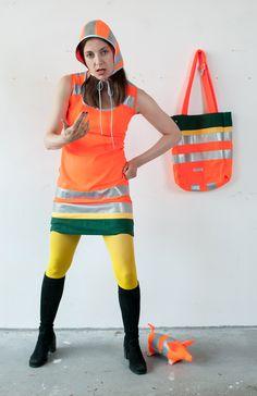Kappen - Leuchtfarbenmütze Reflektor - ein Designerstück von redesign bei DaWanda Bike Fashion, People Laughing, Bike Style, Baseball, Industrial Style, Work Wear, Overalls, Etsy, Hoodies