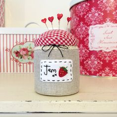 Jam jar pin cushion from the wonderful book Sweetly Stitched Handmades :: Sew Sweet Violet