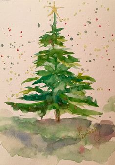 51 Ideas tree drawing watercolor watercolour for 2019 Watercolor Trees, Watercolor Cards, Watercolor Paintings, Watercolors, Noel Christmas, Christmas Crafts, Watercolor Christmas Cards, Christmas Paintings, Christmas Tree Drawing