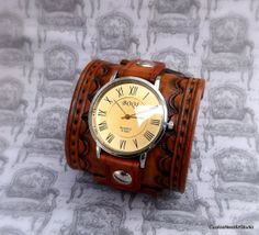 Leather Cuff Watch Wrist Watch Leather by CuckooNestArtStudio, $118.00