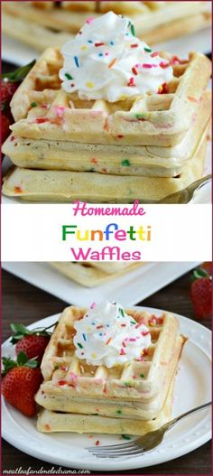 Homemade funfetti waffles are easy to make for a fun weekend breakfast. You can also reheat them in the toaster during the week! Breakfast Waffles, Pancakes And Waffles, Best Breakfast, Breakfast Recipes, Pancake Recipes, Breakfast Ideas, Mexican Breakfast, Breakfast Sandwiches, Breakfast Bowls