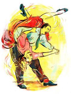Lindy Hop! - Swing Dance Flip.- Art by Jacqui Oakley