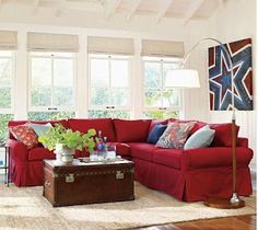 Pottery barn star wall canvas red couch living room, new living room, red. Red Couch Rooms, Red Couch Living Room, Red Couches, Living Room Color Schemes, Living Room Colors, Living Room Decor, Blue Family Rooms, Blue Rooms, White Rooms