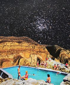 Stars Shining by Djuno Tomsni, via FlickrFrench artist Djuno Tomsni imagines the perfect summer vacation in outer space with his hand-made collages from vintage holiday brochures and photo albums. ,Space Vacations Space Trips, summer vacations outer space,