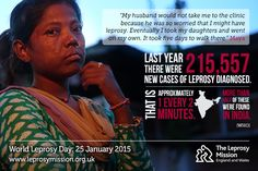 Last year there were 215,557 new cases of leprosy diagnosed. That's approximately one every two minutes.  www.worldleprosyday.org.uk