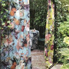 From the Gaultier Spring Collection, The Botanique fabrics including Bleuet, Pollen, Laque, and Sable. #StarkFabric