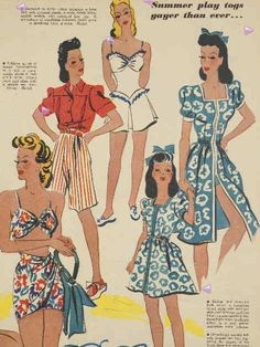 1941, illustration from Australian Women's Weekly - luv the wrap dress