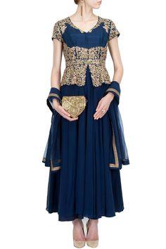 Midnight blue peplum embroidered kurta set BY ANEESH AGARWAAL. Shop now at perniaspopupshop.com #perniaspopupshop #clothes #womensfashion #love #indiandesigner #aneeshagarwaal #happyshopping #sexy #chic #fabulous #PerniasPopUpShop #ethnic #indian