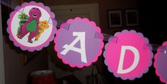 Barney and Friends Happy Birthday Banner by mimskd on Etsy, $22.00