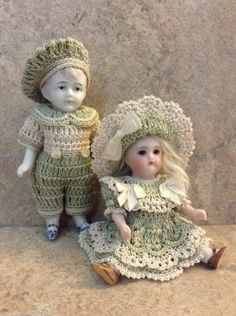 "VICTORIAN STYLE CROCHETED DRESS SET FOR 3 1/2"" ALL BISQUE DOLL* by Tina"