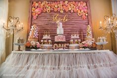 Dessert Table from a Pink + Gold 1st Birthday Party via Kara's Party Ideas | KarasPartyIdeas.com (23)