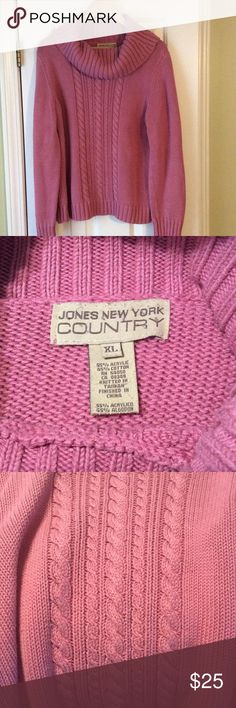Pretty pink sweater from Jones New York Great condition pink sweater from Jones New York. Length is 24 inches. Jones New York Sweaters Cowl & Turtlenecks