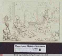 Titel  Faust mit Mephistopheles in der Hexenküche.  Inschrift  6.  Person  Retzsch, Moritz(Zeichner);Unbekannt(Stecher)