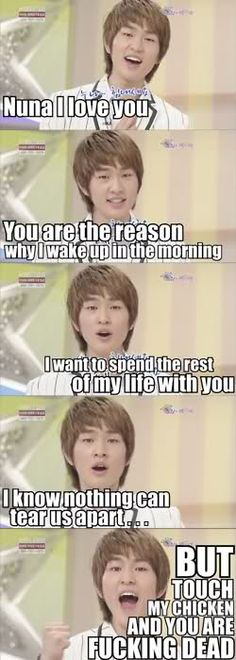 LOL! ONEW AND HIS CHICKEN! NOTHING can get between him and his CHICKEN!