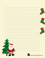 cute printable christmas stationery with santa and stockings
