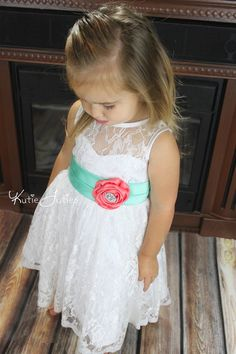 Lace Sweetheart Flower Girl Dress- White, Coral, Mint, Aqua, Wedding, Baby, Girl, Toddler, Infant, Child, Chich, Vintage, Rhinestones on Etsy, $99.95