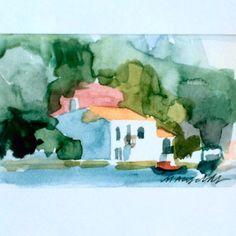 By the sea – Marie Åhfeldt/Mås Illustra. www.masillustra.se #watercolour #illustration #art #artist #mediterranean #travel #Greece